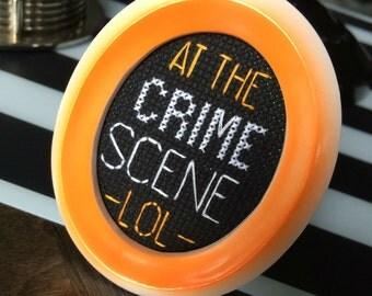 Mini Orange Framed Cross Stitch - The Other Guys - At The Crime Scene LOL