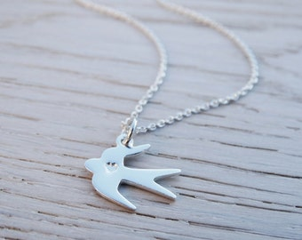 Silver Bird Necklace - Heart - Swallow - Sterling Silver