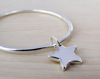 Solid Silver Bangle & Star - Sterling Silver