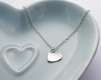 Tiny Silver Heart Necklace - Hammered Finish - Sterling Silver