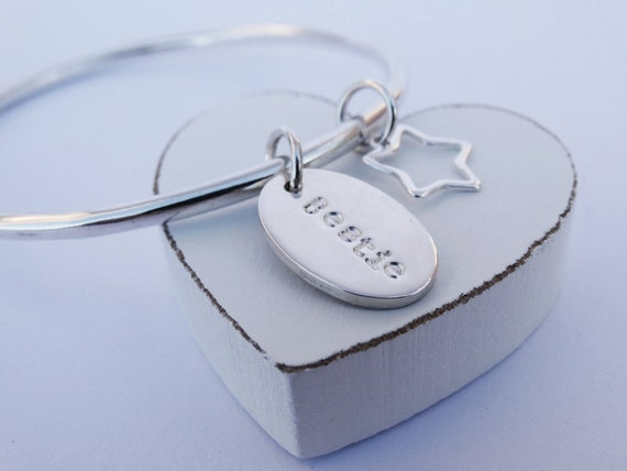 Silver 'Bestie' Bangle & Star - Sterling Silver