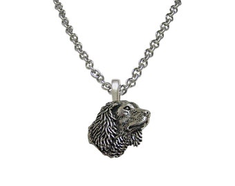 Spaniel Dog Head Pendant Necklace