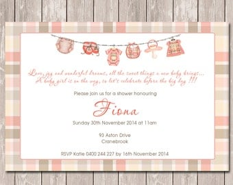 Baby Shower Personalised Invitation - YOU PRINT
