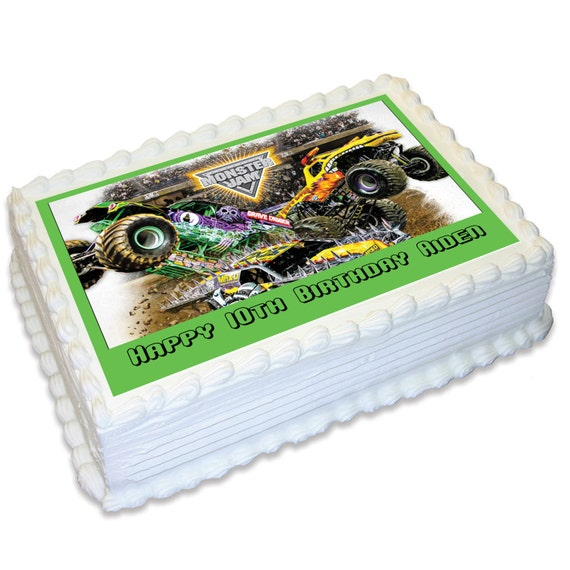Monster Jam Personalised A4 Edible Icing Cake Topper