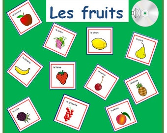 FRUIT FRENCH FLASHCARDS-Learn the Fruits in French with Pronunciation on Audio File,Teaching Resource to Learn or to Revise French Language