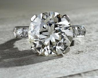 5.23 Carat Antique Vintage  Diamond Engagement Palladium Ring Art Deco Old European Cut GIA SALE