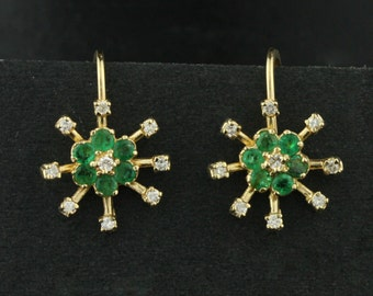 Vintage Diamond and Emerald Snowflake Cluster Earrings in 14k Yellow Gold