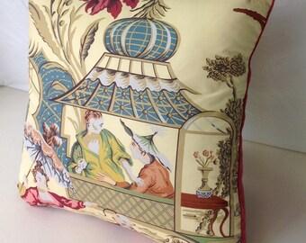 Cotton Asian Pagoda Scene Pillow Cover, 23 x 23, Designer throw pillows
