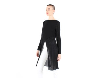 SALE - 90s Goth Grunge Sheer Mesh / Long Sleeve Open Front Avant Garde Marques Almeida Style Top / Dress