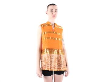 SALE Bright Orange + Metallic Gold 90s Indian Paisley Mini Dress / Sleeveless Festival Top