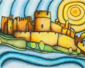 Caerphilly Castle art print A4 from Original Drawing by Gayle Rogers Made in Wales