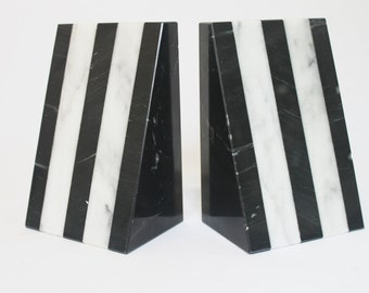 Hollywood Regency Black & White Striped Marble Bookends