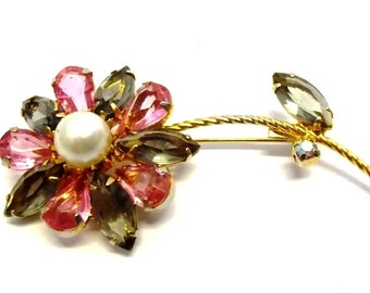 Pink Gray Rhinestone Flower Brooch Pink Gray Bridal Wedding Brooch Spring Summer Jewelry DD 809