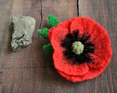 Red poppy brooch felt flower bridesmaid gift idea for her weddings jewelry brooches Boho wedding accessories