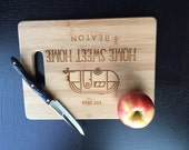 "Personalized Cutting Board - Custom Engraved ""Mobile Home""  Unique Wedding Gift, Housewarming Gift"
