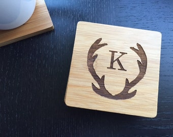 "Personalized Coaster Set 6 Custom Engraved Bamboo Coasters ""Hunter's Stack""  Unique Wedding Gift, Housewarming Gift"