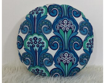 Round Cushion Cover Vintage Retro 70s Blue Psychedelic Fabric