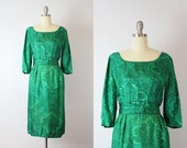 vintage 50s dress / 1950s green silk dress / printed silk dress / wiggle dress / watercolor print dress / green and blue holiday dress