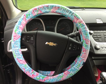 Steering Wheel Cover made with Lilly Pulitzer's Lobstah Roll fabric