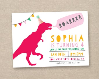 girl dinosaur invitation - girl dinosaur party