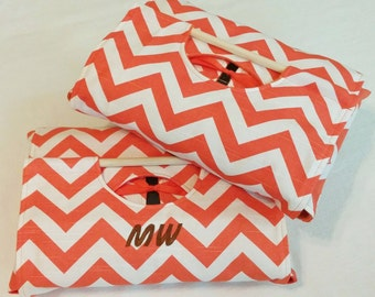 Orange Chevron 9x13 Casserole Carrier with FREE Shipping and Recipe - Orange and White Chevron ZigZag Stripe, American Made, Cooking Kitchen