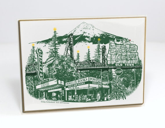 Portland Holiday cards // PDX Christmas Notecards // Holiday Cards // Oregon // Mt. Hood // cityscape // Portlandmark Holiday // Set of 6