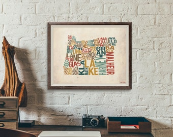 Oregon by County - Typography Print