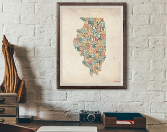 Illinois by County - Typography Print