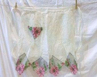 Vintage Half Apron Hanky Handkerchief Antique 1930s