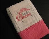 Princess burp cloth; girl burp cloth; pink burp cloth; princess crown