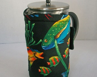 Bodum French Press Cozy - Cafetiere Cosy - Coffee Pot Cozy - Neon Fish on Black fabric