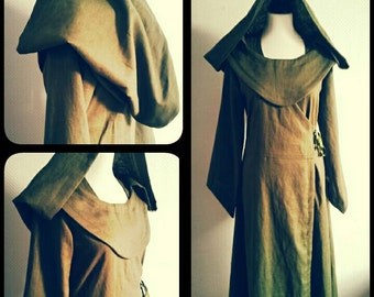MADE TO ORDER:  linen pagan Avalon gown  with hood. dress druid historical priestess woodland fairy witch elvish