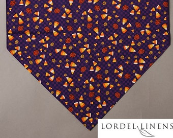 "Halloween Table Runner, 72"" Table Runner, Candy Corn on Purple, Halloween Party, Halloween  Home Decor"