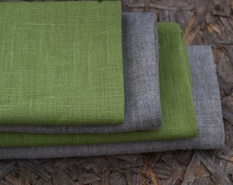 Linen Kitchen Towels Set of 4 Organic Linen Natural Grey and Green Washed Vintage Look