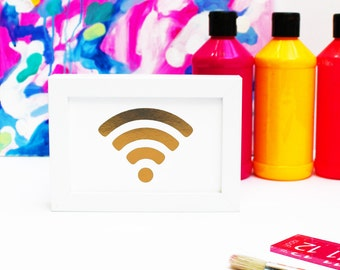 Gold Foil Print WIFI Wi-Fi Wi Fi Art Print - Wireless Network In The House - HOME OFFICE