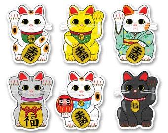6pc Lucky Cat / Maneki Neko // Vinyl Sticker / Decal