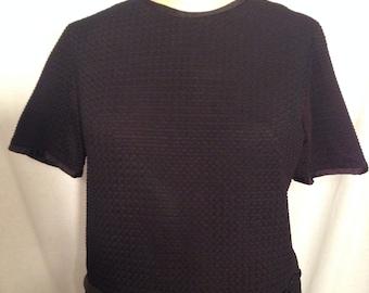 Vintage 70s Black Textured Shirt and Skirt Set Size 13-14 t2