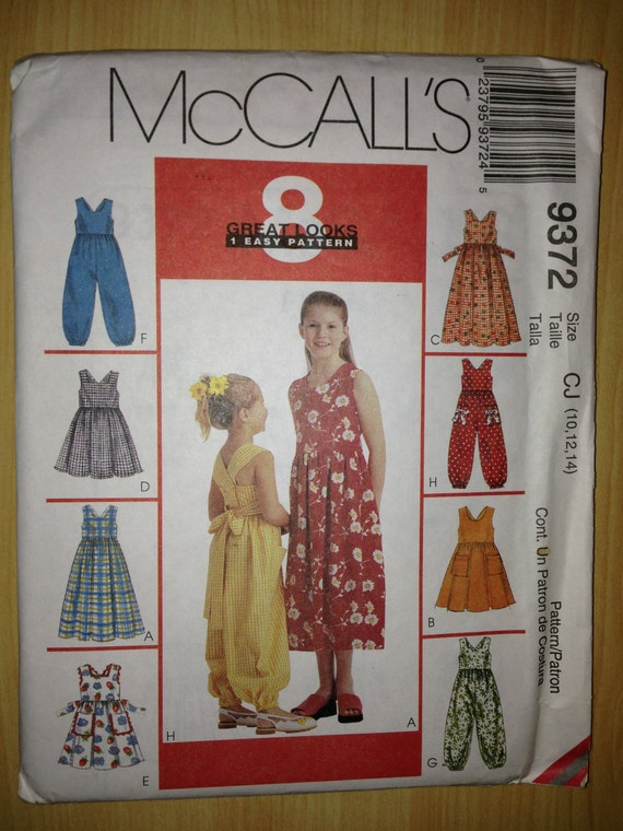 McCalls Sewing Pattern 9372 Girls Sundress in Two Lengths and Jumpsuit Size 10-14