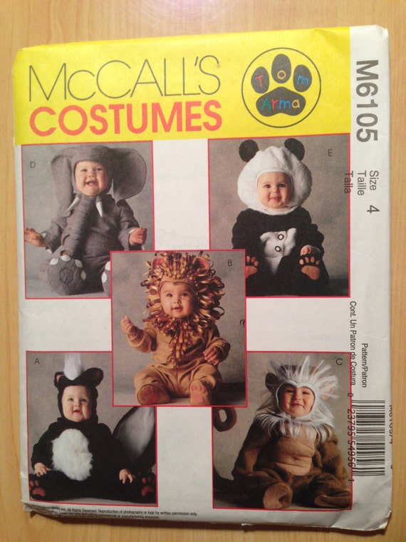 McCalls Sewing Pattern 6105 Uncut Toddlers Costume Lion, Skunk, Monkey, Elephant and Panda Size 4
