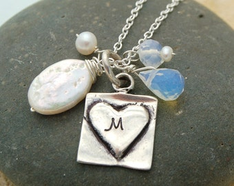 Silver Initial Necklace, Hand Stamped Sterling Charm Necklace
