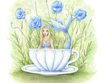 Mermaid Art Print, Mermaid Print, Watercolor Mermaid Painting, Mermaid Tea Cup, Blue Mermaid Decor Print