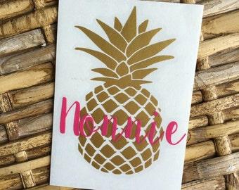 Pineapple Monogram Vinyl Decal, Monogram Decal, Pineapple Decal, Car Decal, Yeti Decal, Glitter Pineapple Decal, Glitter Decal, Preppy Decal