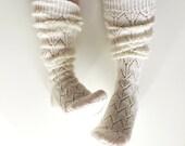 Knee high socks. White boot socks. White wool socks. Hand knit wool socks. Lace boot socks. White lace socks. Knit leg warmers. Bed socks