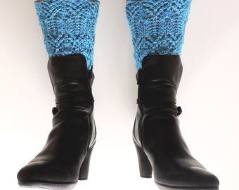 Hand knit BOOT CUFFS. Turquoise boot cuffs. Autumn accessories. Winter accessories. Ankle boot cuffs. Lace boot cuffs. Turquoise knit lace