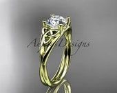 14kt yellow gold celtic trinity knot wedding ring, engagement ring CT7189