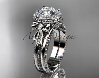 14kt white gold diamond unique engagement set, wedding ring ADER157S
