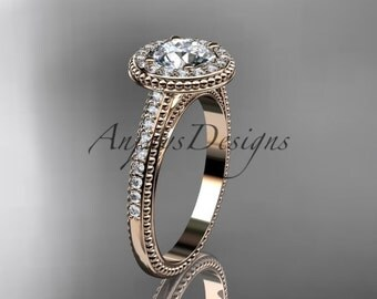 """14kt rose gold diamond unique engagement ring, wedding ring with a """"Forever One"""" Moissanite center stone ADER104"""