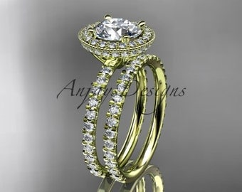 14kt yellow golddiamond unique wedding band, engagement ring,engagement set  ADER106S