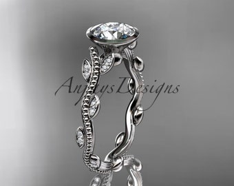 14k white gold diamond leaf and vine wedding ring, engagement ring ADLR33