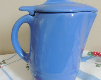 Vintage 1950s French Blue Pottery Pitcher with Lid Art Deco Oxford Ware Universal Pottery Mid Century Kitchen Cottage Chic
